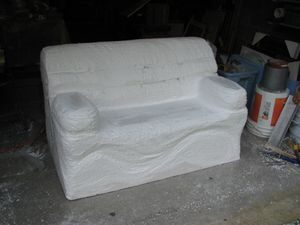 Loveseat in progress - 1a - after carving